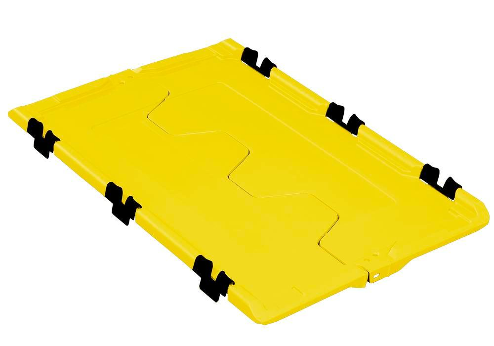 Tapa abatible para cont.apilable poliv. classic-line D, 610 x 400 x 40 mm, amarillo, pack = 2 ud.