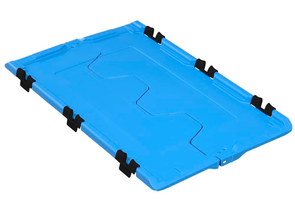 Tapa abatible para cont.apilable poliv. classic-line D, 610 x 400 x 40 mm, azul, pack = 2 ud. - 1