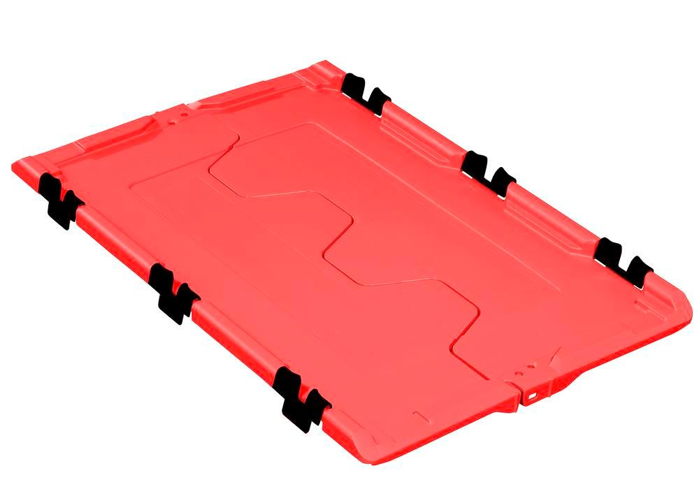 Tapa abatible para cont.apilable poliv. classic-line D, 610 x 400 x 40 mm, rojo, pack = 2 ud. - 1