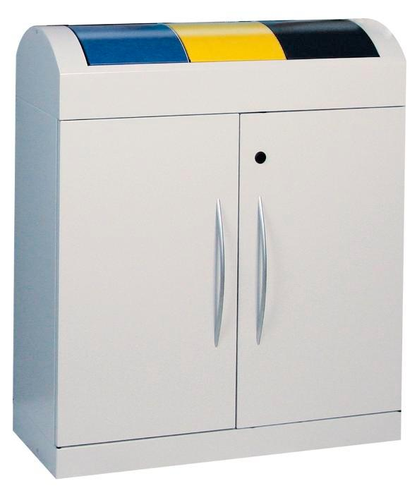 Colector residuos metal, 3 x 45L