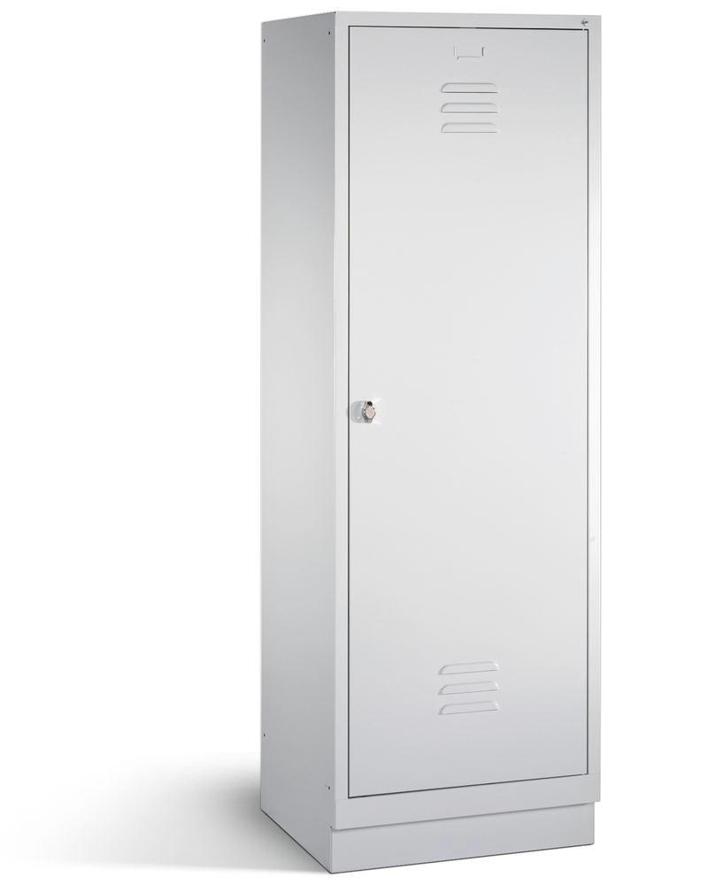 Taquilla guardarropa Cabo, 2 compartimentos, LxAxH: 610x500x1800 mm, zócalo, gris, 1 puerta